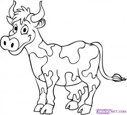 Drawn cow caricature