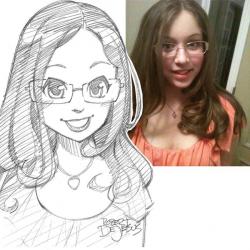 Drawn selfie anime
