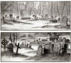 Drawn graveyard gothic