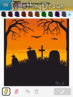 Drawn cemetery