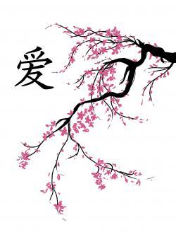 Drawn sakura blossom japanese drawing