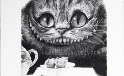 Drawn cheshire cat charcoal drawing