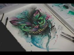 Drawn cheshire cat watercolour
