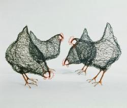 Drawn chicken sculpture