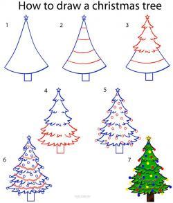 Drawn snowfall christmas tree