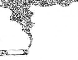 Drawn smoke cigar smoke