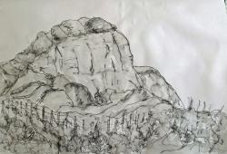 Drawn cilff rock cliff