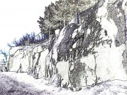 Drawn rock rocky landscape