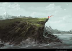 Drawn cilff sea cliff