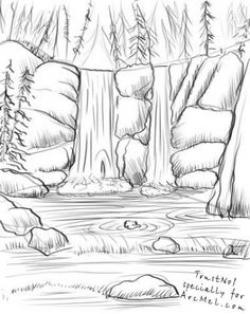 Drawn waterfall anime