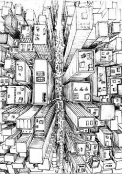 Drawn scenic city