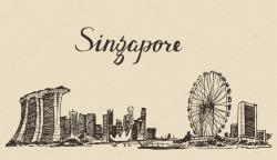 Drawn city singapore city