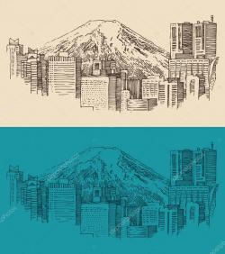 Drawn city tokyo city