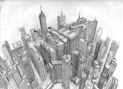 Drawn scenery cityscape