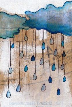 Drawn raindrops color