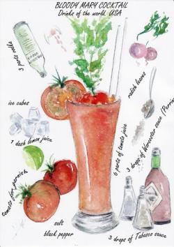 Drawn cocktail bloody mary drink