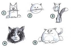 Drawn feline cartoon