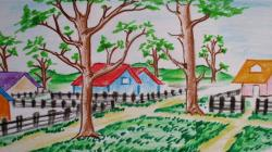 Drawn countyside forest scenery