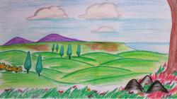 Drawn countyside scenery