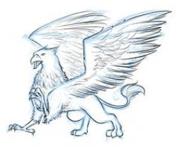 Drawn griffon mythological creature