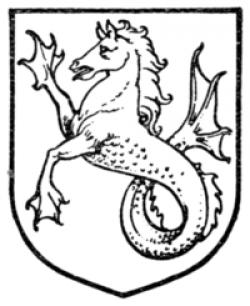 Drawn seahorse heraldic