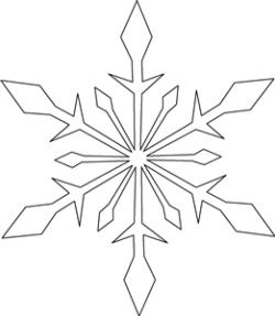 Drawn snowflake ice crystal