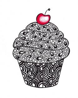 Drawn cupcake zentangle