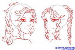 Drawn ponytail long wavy hair