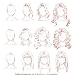 Drawn people hair