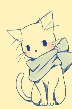 Drawn feline cute