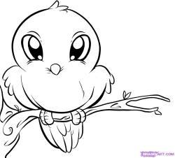 Drawn sparrow cute