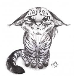 Drawn feline adorable