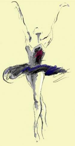 Drawn ballet people dancing