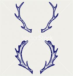 Drawn horns vector