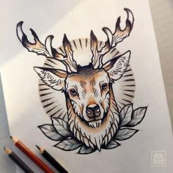 Drawn stag traditional