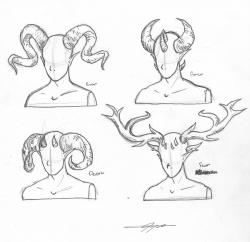 Drawn horns demon