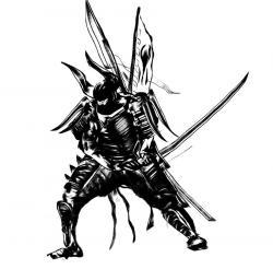 Drawn samurai robot samurai