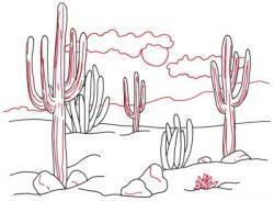 Drawn landscape cactus