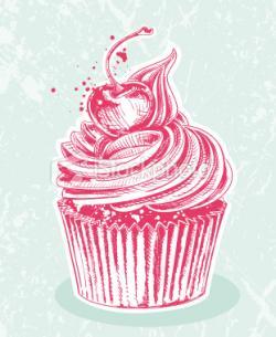 Drawn cupcake bloody