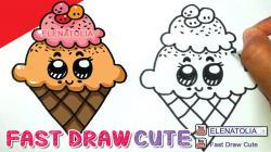 Drawn waffle cone kawaii