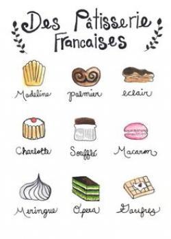 Drawn dessert french pastry
