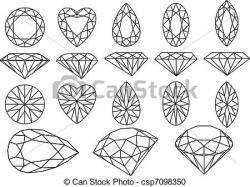 Drawn jewelry heart gemstone