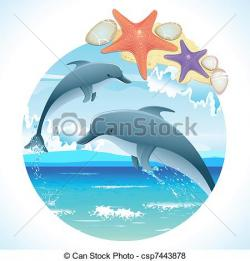 Dolphins clipart pair