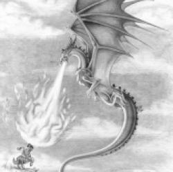 Drawn dragon fire breathing