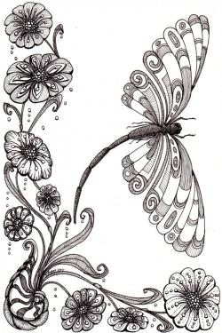 Drawn plant psychedelic flower