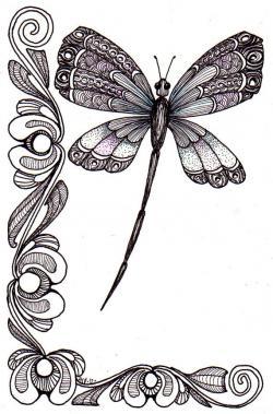 Drawn dragonfly whimsical