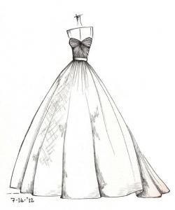 White Dress clipart easy draw