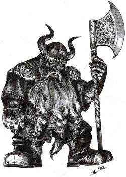 Drawn axe dwarven