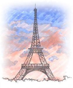 Drawn eiffel tower france