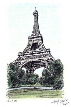 Drawn eiffel tower paris